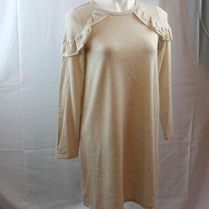 1. State Sweater Dress Cozy Soft Oatmeal Ruffle
